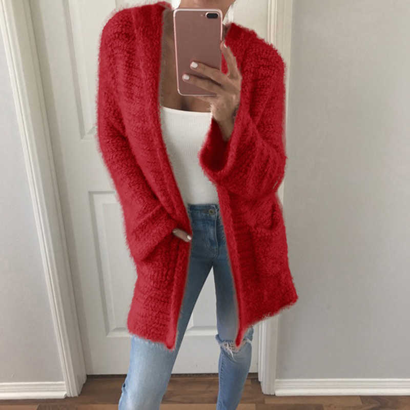Moda Feminina de Lã Malhas Jumper Cardigan Solto Fur Jacket Outwear Tops Inverno Quente Fluffy Brasão Jacket Camisola Ocasional