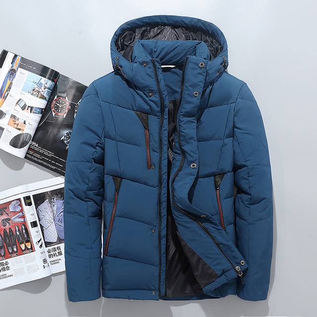 2017 зимняя мужская пуховая куртка Тонкий Толстые Мода мужской пуховик мужской Верхняя одежда с капюшоном Большие размеры зимние-Одежда Оранжевый Синий Черный M-3XL