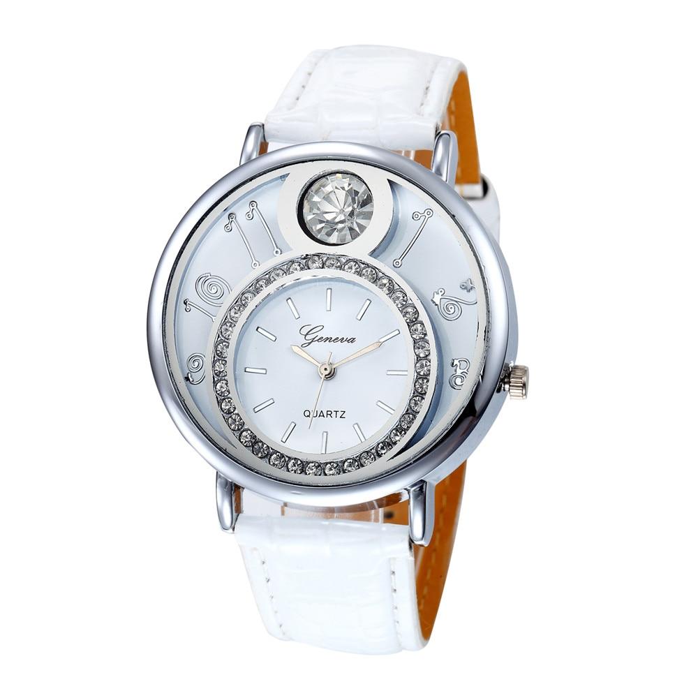 Geneva Women's Watch Big Rhinestone Luxury Quartz WristWatches Design Casual Band Leather Ladies Dress Watches Clock Gift Saat#A