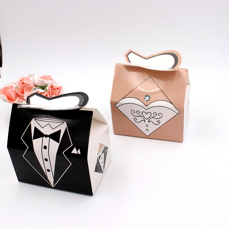 100pcs Paper Candy Box Bride Groom Dresses Packing Sweet Bag Wedding Favors Gift Boxes For Guest Party Decoration