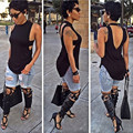 2016 new fashion women summer style t shirt women brand t shirt dresses black sleeveless hollow out women tops and tees XD104