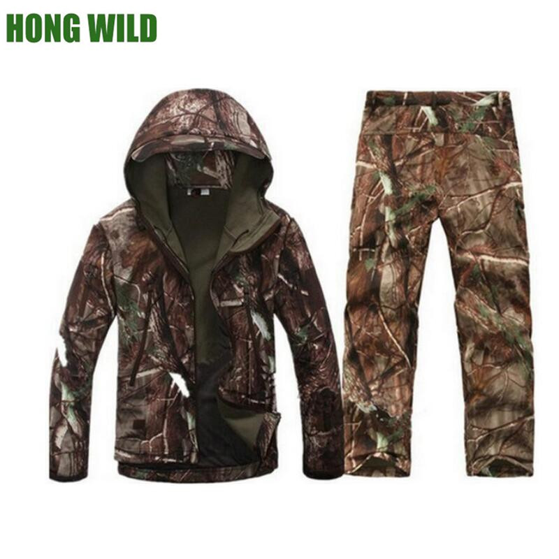 Outdoor tactical waterproof jacket suit men s softsell Camouflage military For Camping Hiking Hunting jacket and