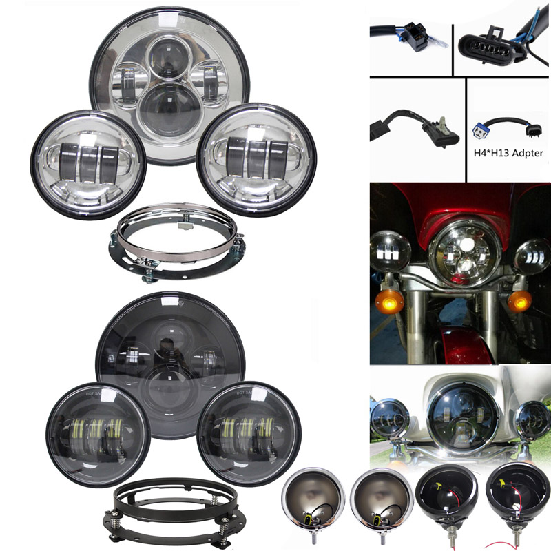7 inch LED Headlight with 4 5 Passing Lamps for Har ley Da vidson Motorcycles with