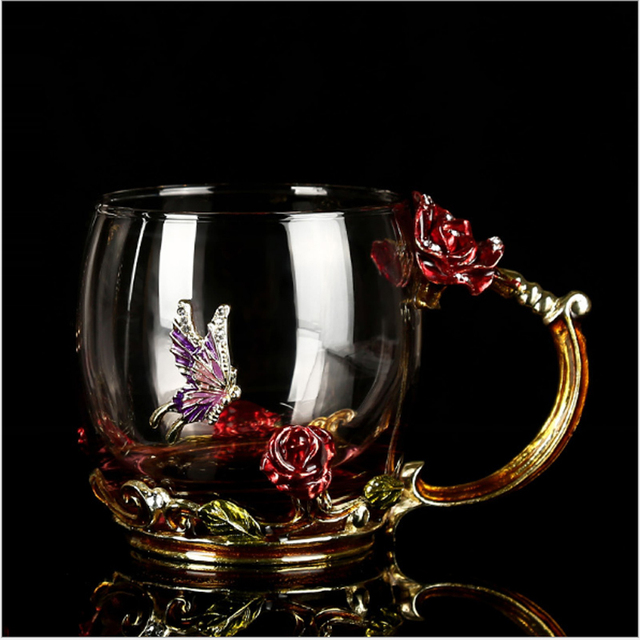 Vintage Rose Enamels Glass Cup Classical Crystal Flower Tea Set Coffee Cup Wine  Cup Gift