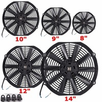 Universal Water Oil Cooler 12V 80W Pull Push Straight Black Blade Electric Cooling Radiator Fan For