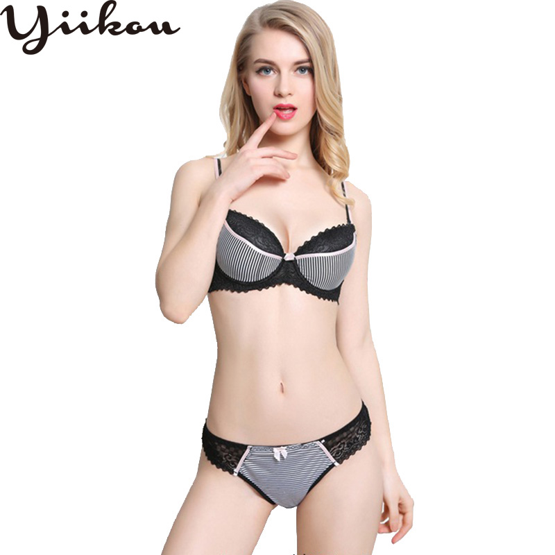 Female Gathered Plastic Bra Sexy Striped Underwear Set Women Fashion Embroidered Bow Lace