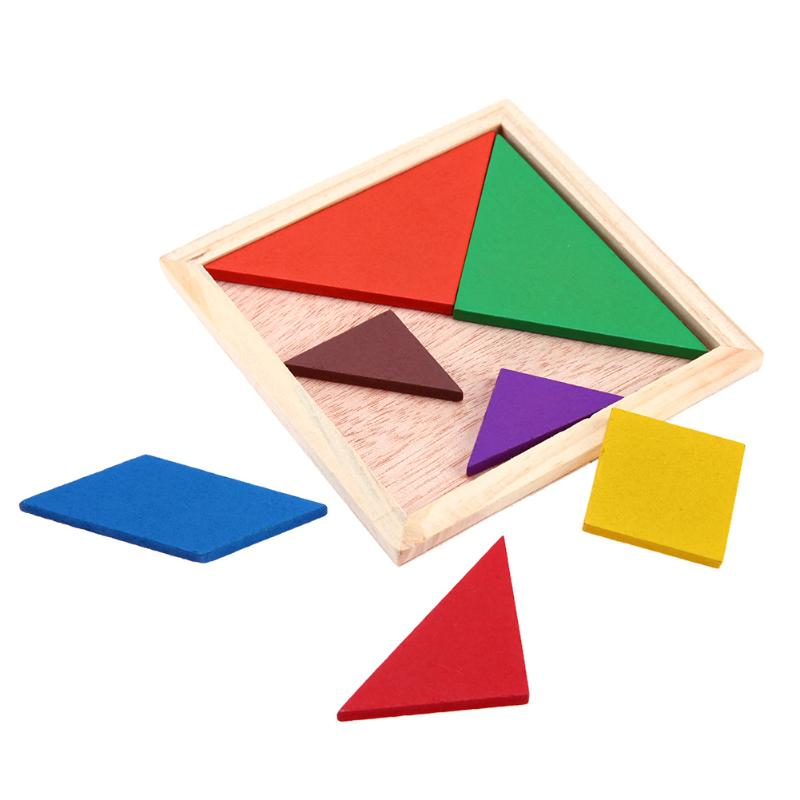 Baby Wooden Tangram Jigsaw Puzzle Toy Kids DIY Geometric Shape Matching Board Children Intelligent Training Education Puzzle Toy