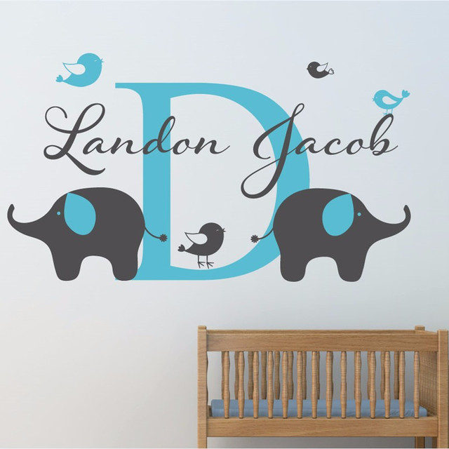 personalized childrens name elephant wall decal custom name vinyl