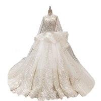 Маленький поезд с накидкой с высокой горловиной Свадебные платья кристаллы всего тела Ruffless бальное платье Свадебное платье 2018 Новое Дизайн