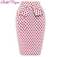 Women Skirt GK8928 High Waist Polka Dots Floral Pencil Casual Retro Vintage Skirts Cotton Fashion Skirts