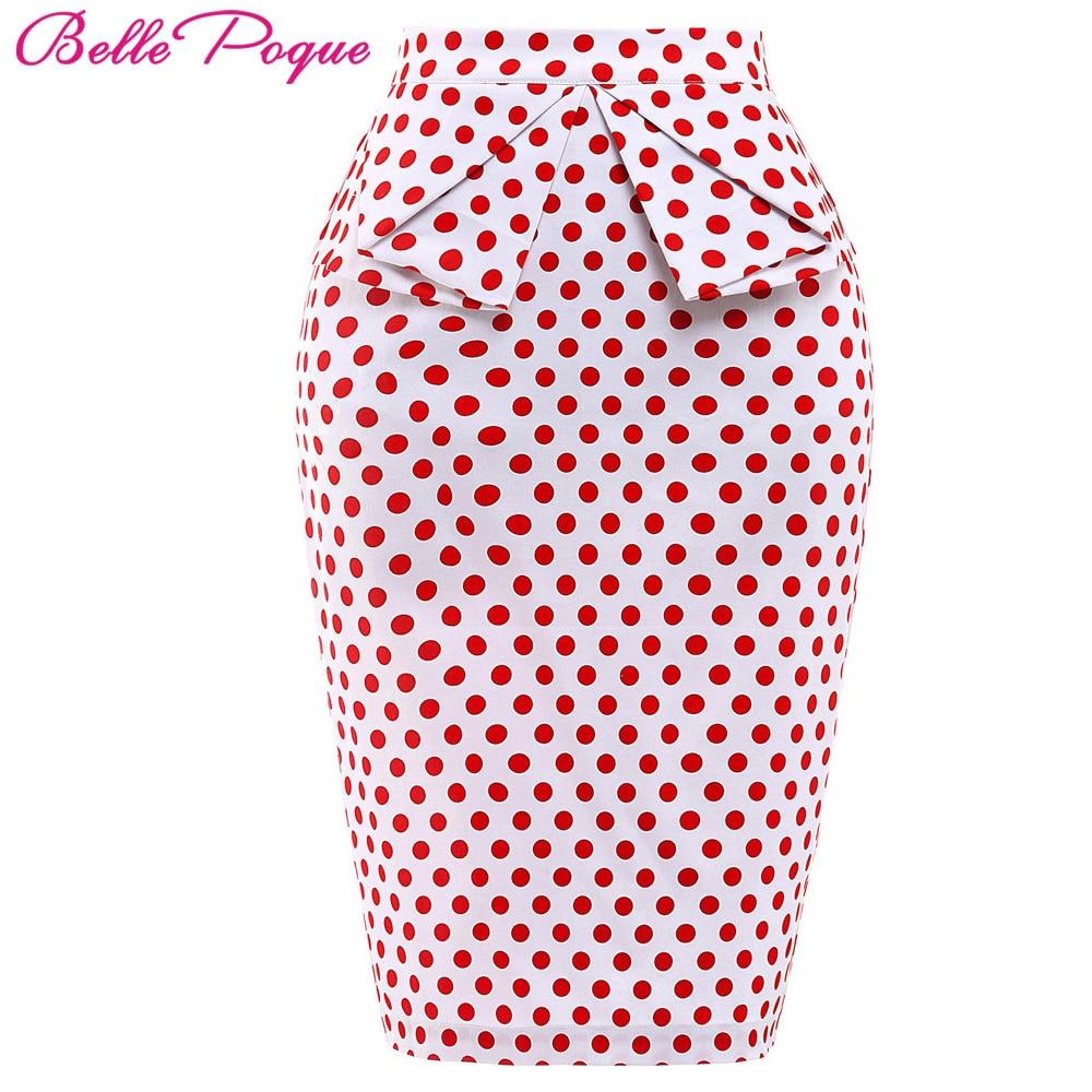 Belle Poque 2018 Summer Pencil Skirt Women High Waist Faldas Vintage 50s Elegant Casual Party Bodycon Floral Print Midi Skirts