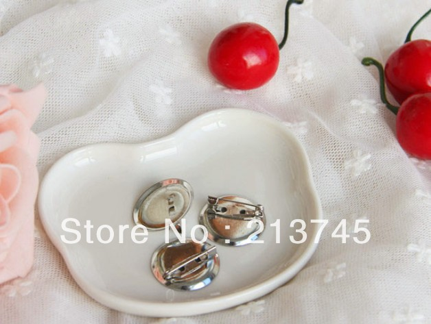 Free shipping nice 500pcs/lot Silver plated cameo brooch blank fit 23mm cabochon, cameo brooch base,safety brooches tray