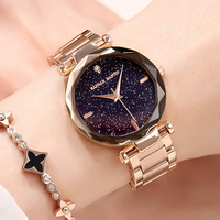 2019 Polygonal dial design women watches luxury fashion dress quartz watch HM popular brand starry sky ladies Relogio Faminino