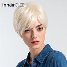 Inhair Cube короткие синтетические парики для женщин натуральные прямые пушистые Многослойные короткие волосы парик с челкой европейский стиль