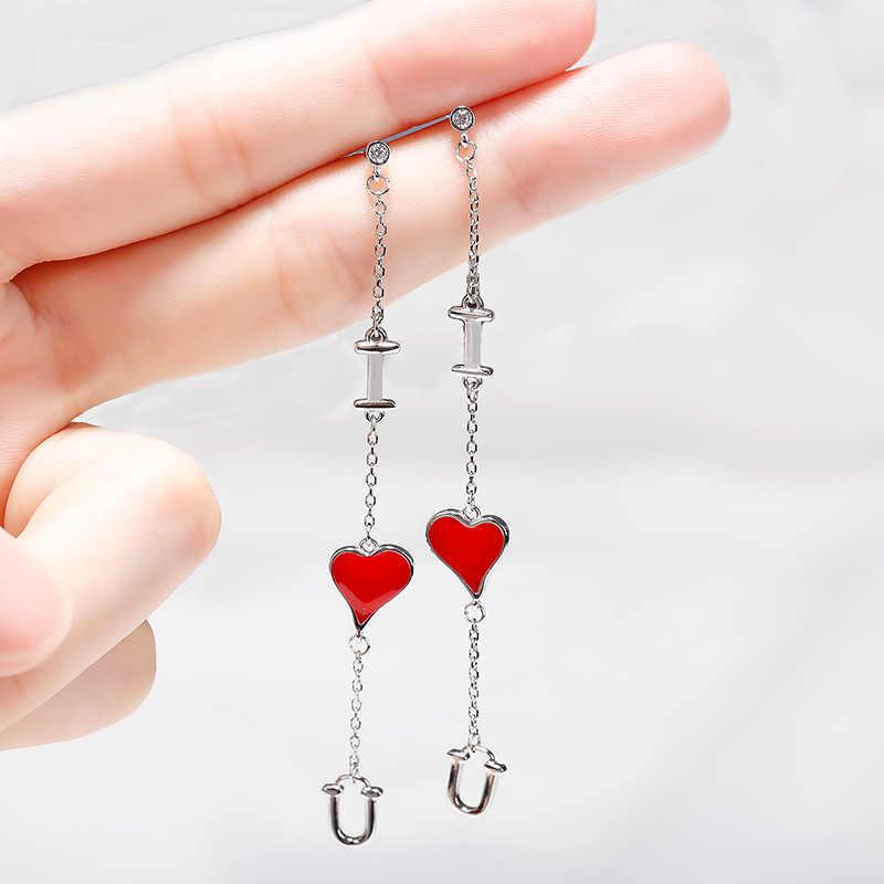 2018 Korea Kepribadian Cinta Drop Anting-Anting Panjang Garis Telinga Wanita Merah Hati Jantung DROP Plastik Anting-Anting Hati