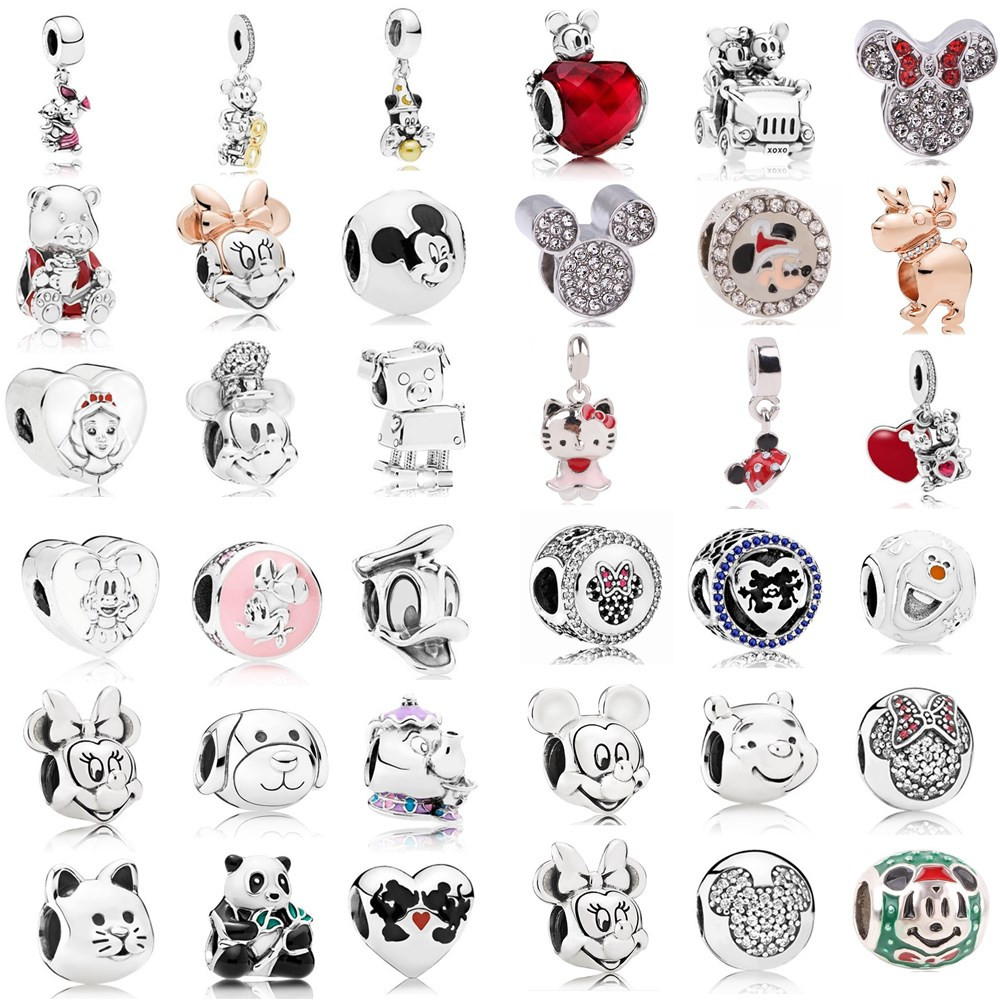 AIFEILI Women's Bracelet Jewelry European Charm Beads Personality Pendant Series Suitable for Pandora Mickey Katie Lovely image