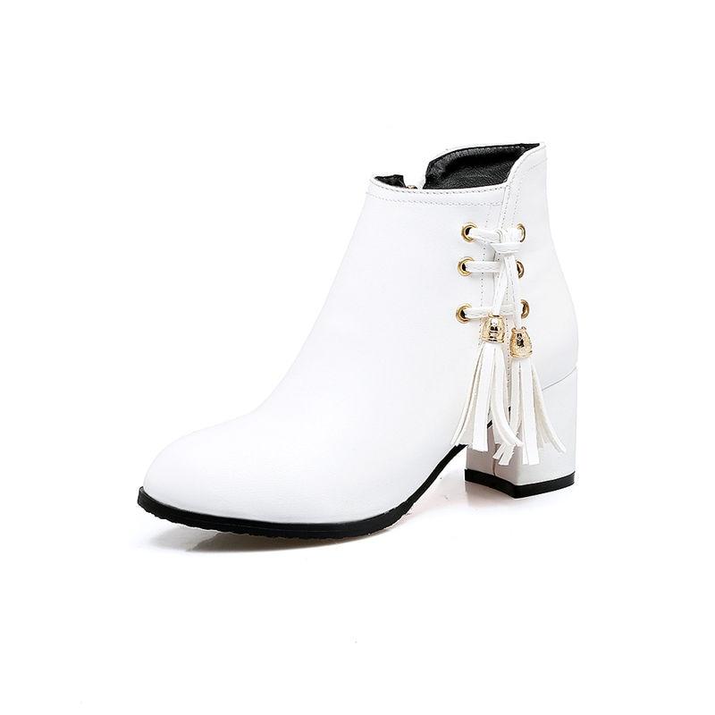 Carré Hauts Bout Mode Beige Date Zip Talons Rond À Occasionnels 2018 blanc Cheville noir De Bottes Smirnova Femmes Solide q1FacRP6q