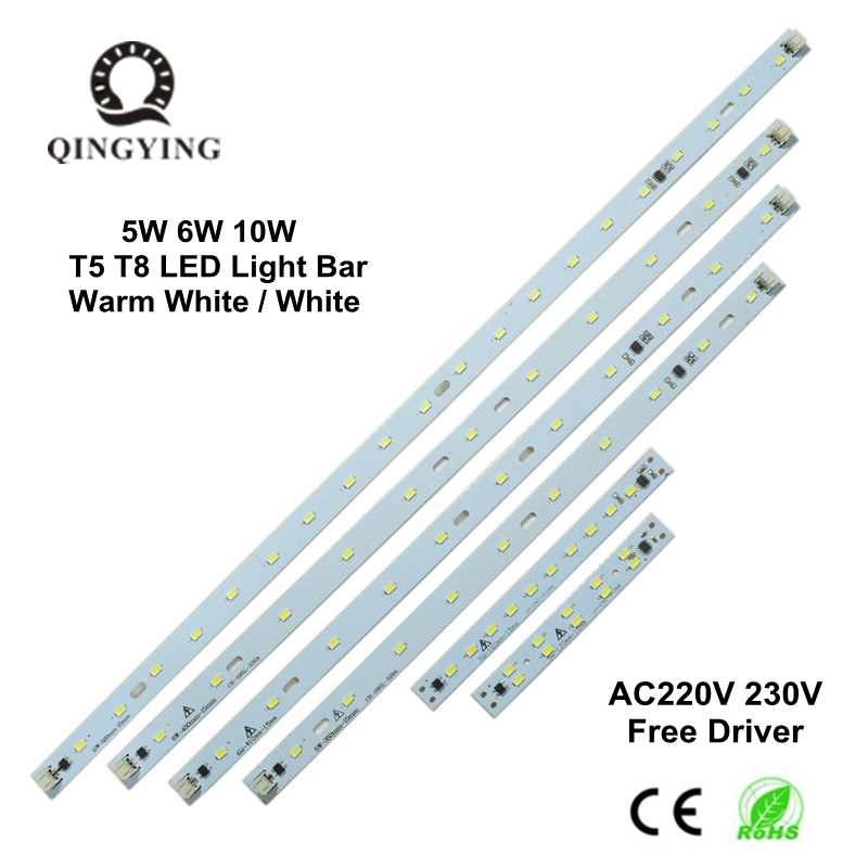 5pcs AC 220V 230V T5 T8 LED Tube Bar Rigid Strip Free Driver 5W 6W 10W AC220V SMD 5730 LED PCB White / Warm White Light Source