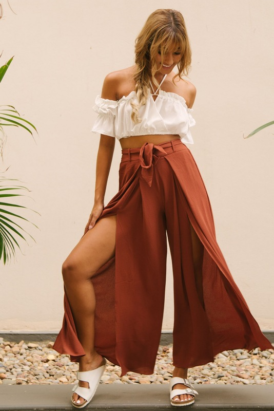 Highstripe wide leg   pants   women Summer Women Elegant beach high waist trousers Chic streetwear sash casual   pants     capris   1