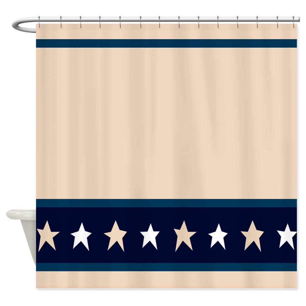 Country Americana Star Border Shower Curtain Decorative Fabric 12 Hooks Curtains Bath Customize Wholesale