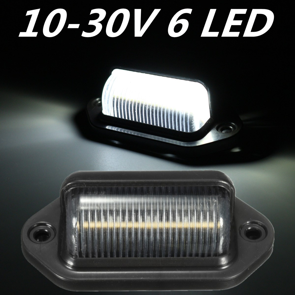 2x 10-30V 6LEDs License Plate Light Lamp Bulbs Number Plate Light For Motorcycle Boats Aircraft Automotive Trailer RV Truck 2pcs truck light 4 leds lamp