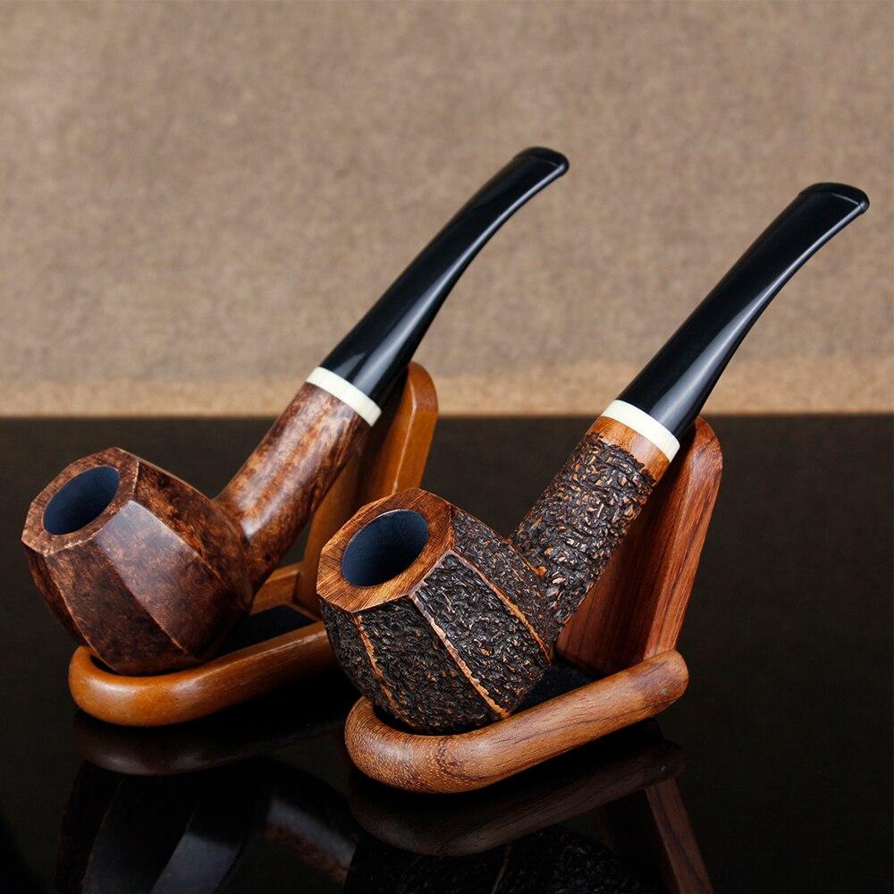 Straight Octagon Pot Smoking Pipe 9mm Filration Briar Wood White Ring Tobacco Gift Set Engrave Free Tools