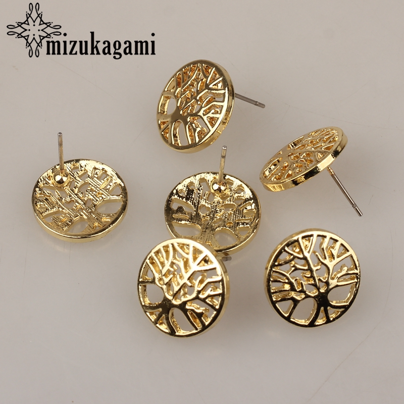 Earrings Jewelry Making Finding Accessories Zinc Alloy Golden Tree Of Life Base Earrings Connectors Chrms 15mm 6pcs/lot