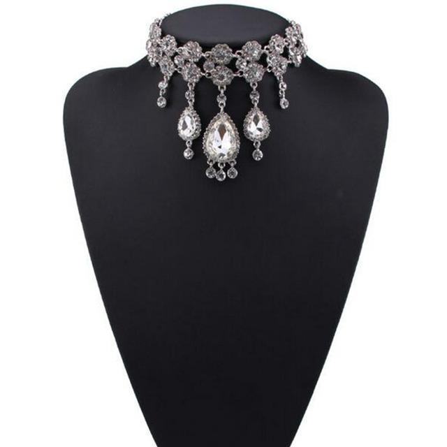 Elegante lindo cristal pedra borla maxi das mulheres collar declaração choker cadeia colar & pendant ladies festa de casamento jóias
