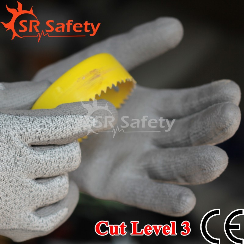 SRSAFETY 1 Pairs anti cut hurt household family working used gloves,working cheap gloves,Cut Level 3,DY110-DG-PU
