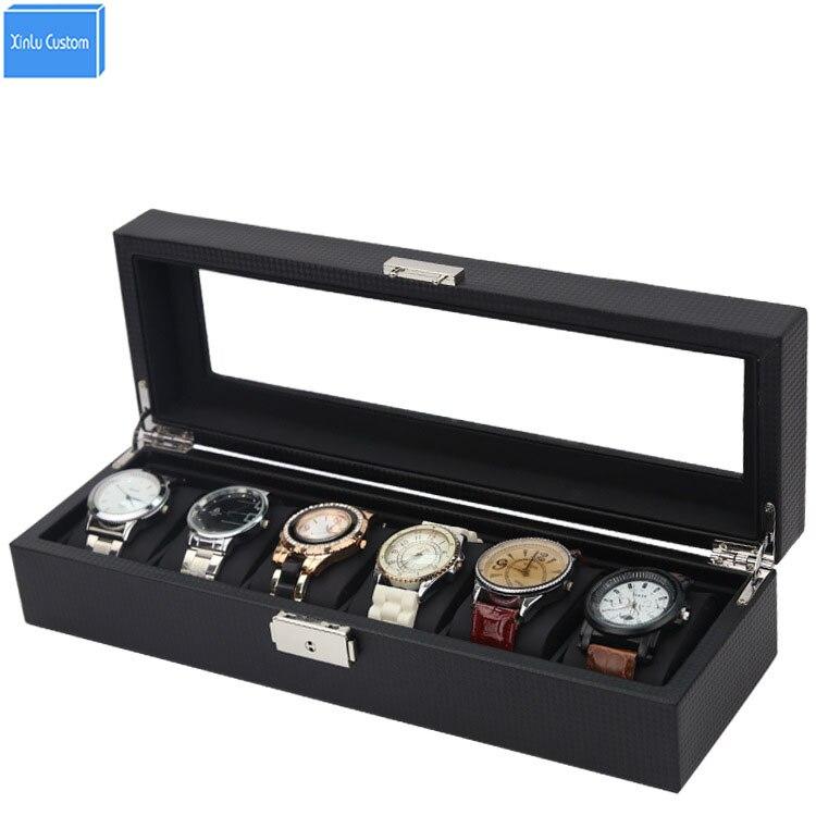 Cuir fibre de carbone 6 montre boîte porte-bijoux rangement vitrine coffret relogio coffret mont caja para relojes caixa organisado
