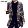 2016 новое прибытие зима однобортный моды случайные траншеи мужчины, англия плед повседневная пальто, плед куртка мужчины плюс размер 2 цвет
