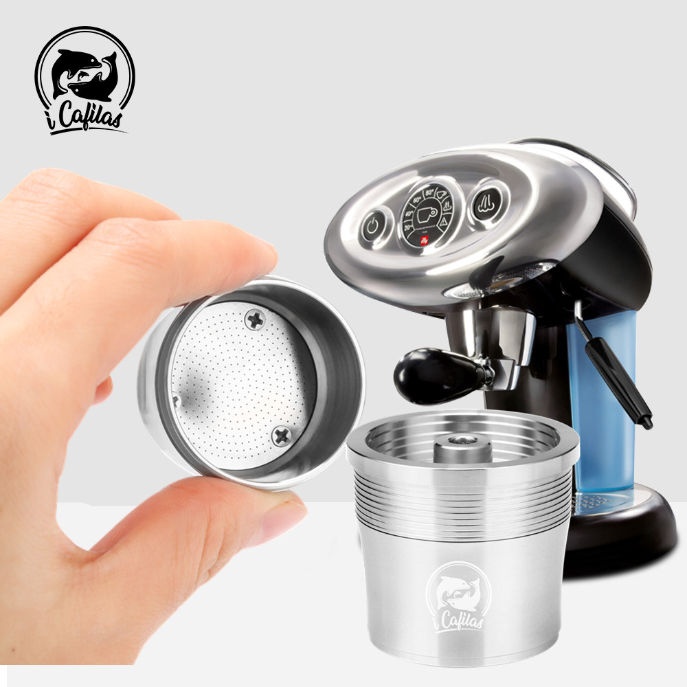 ICalifas 4pcs/set Stainless Steel Reusable Coffee Filter Refillable Capsule Cup Pod Tamper For Illy Machine Refill