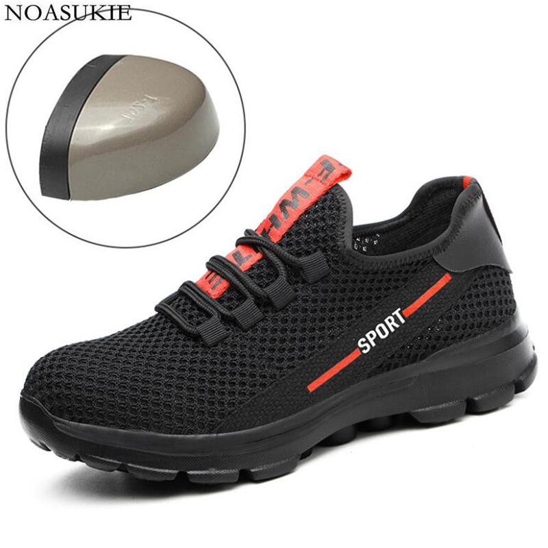 Summer Sneakers Men Mesh Safety Shoes Breathable Lightweight Casual Work Shoes Tenis Anti Smashing Puncture Steel Toe Shoes in Work Safety Boots from Shoes