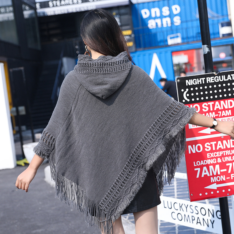 New Woman Solid Color Hooded Cape Poncho Autumn Winter Magic Collar Knitted Sweater Outdoor Wear Tassel Cardigan Coat For Female