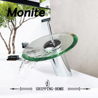 RU Bathroom Faucet Glass Waterfall Faucet Mixer Taps Bathroom Basin Faucet Chrome Brass Bathroom Faucets