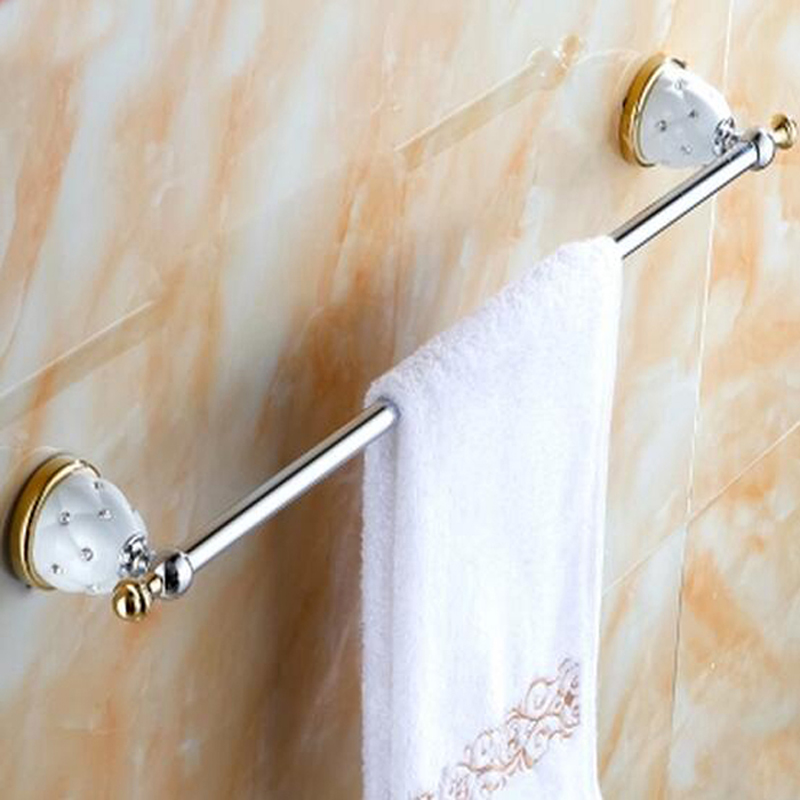 Wholesale And Retail Luxury Ceramic Inlaid Crystal Brass Bathroom Towel Rack Holder Wall Mounted Towel Bar Hanger oil rubbed bronze brass bathroom towel rack holder crystal hanger ceramic holder