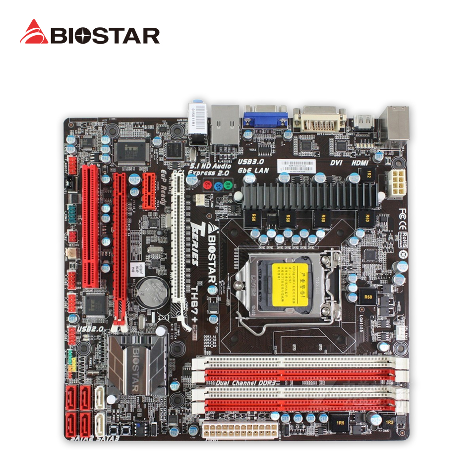 BIOSTAR TH67+ Ver:6.1 Original Used Desktop Motherboard H67 LGA 1155 DDR3 16G SATA2 USB2.0 Micro ATX archetype transparent ver she