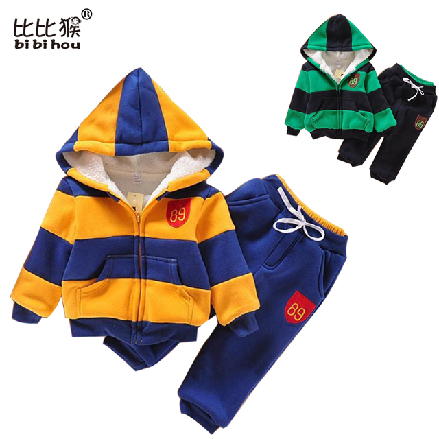 New Baby Girls Clothing Set Winter Fleece toddler Sport Clothes Suit Long Sleeve stripe kids Clothing Set Cotton Boy's Clothes