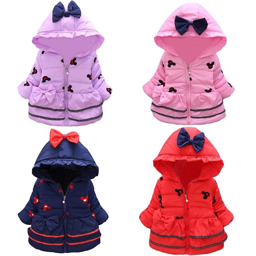 2016 New Baby Girls Minnie Jackets Children Lovely Winter Cartoon Warmed Coat Children Thick Cotton Hooded Outerwear