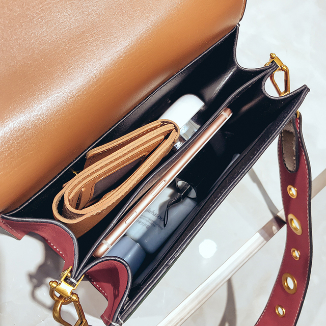 Mini Crossbody Sling Bags Vintage Woman Fashion Flap Sling Bag Color Blocking Messenger Bag 2018 New Beach Handbags Leather 5