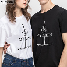 YOFOCOO Game of Thrones Couple T-Shirt Printing Summer Matching Clothes Attraction O-Neck for Lovers