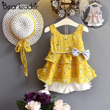 Baby Summer Girls Clothes Colourful Printing Dresses With Hat 2PCs Set Clothing 1