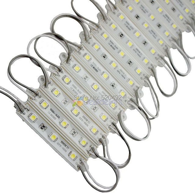 500pcs Super Bright  DC 12V 3 Leds 5050 SMD Cool White Waterproof LED Module Light Lamp Wholesale Free DHL Shipping