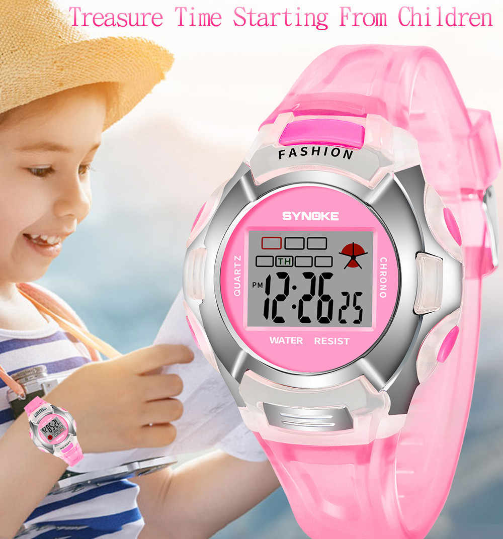 SYNOKE, модные детские часы для мальчиков и девочек, светодиодный, цифровые спортивные часы, пластиковые, для детей, с будильником, повседневные часы, выберите подарок для детей 233