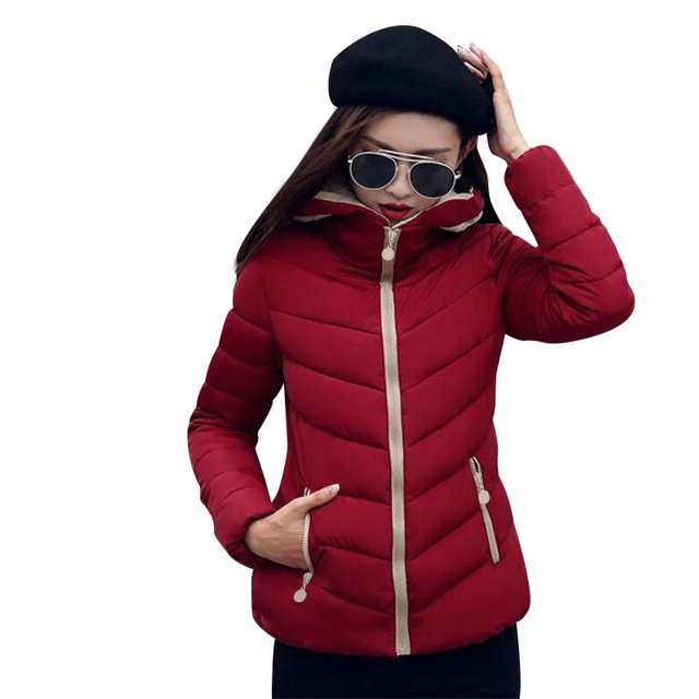 New Coats & Jackets 2017 Fashion Wine Red Parka Hooded Winter ...