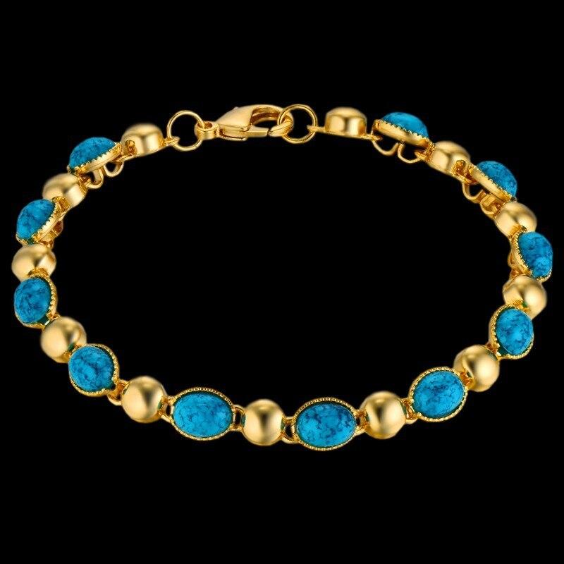 Luxury Woman Bracelets Blue Rhinestone Bracelet Gold Color Italian Charm Bracelet For Women Vintage Jewelry