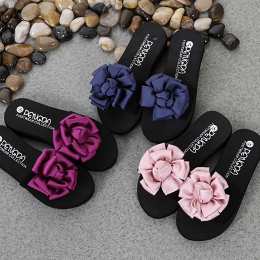 SAGACE Shoes Flip flops Women Flower Summer Sandals Slipper Indoor Outdoor Flip-flops Beach fashion casual shoes women 2018MA27 2017 women sandals shoes sapato feminino bownot wedge flip flops fashion beach women slipper shoes bohemia women s shoes flower