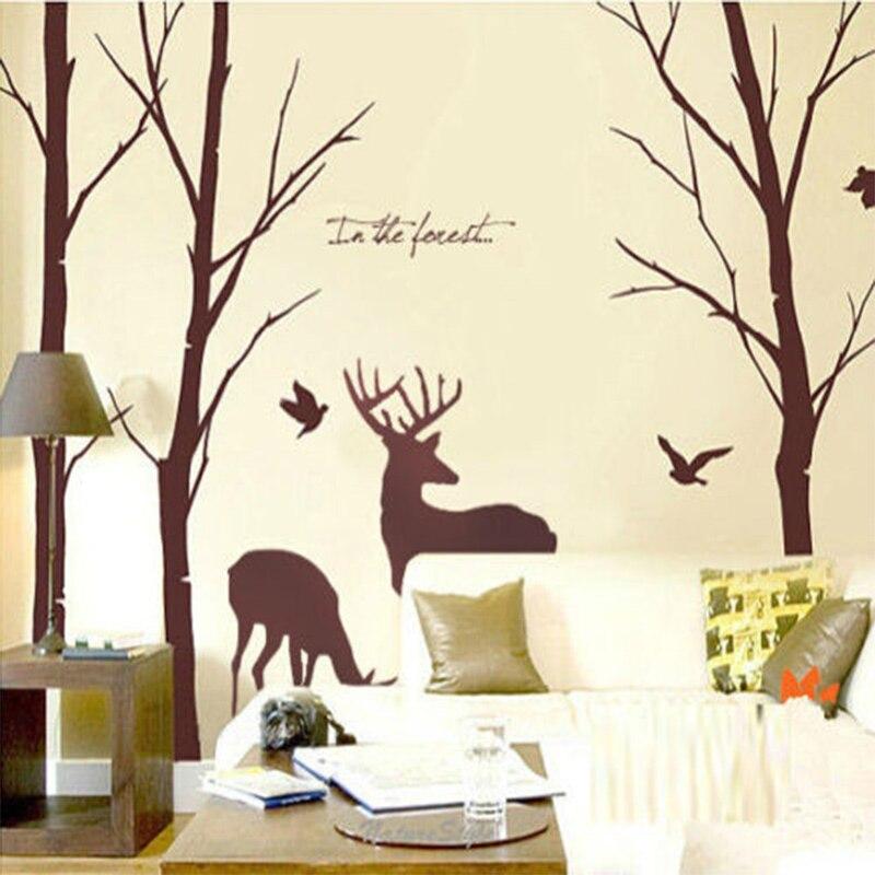 Personnalisé bouleau arbre et renne vinyle Sticker Mural Art Mural décor de chambre 180X281 CM