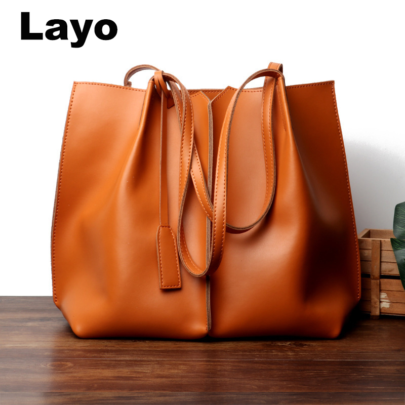 Layo Women bag split Leather Women's casual tote Lady Hand Bags With Purse Pocket Women Shoulder messenger bag Tote Mujer women bag oil wax women s leather handbags luxury lady hand bags with purse pocket women messenger bag big tote sac bolsos mujer