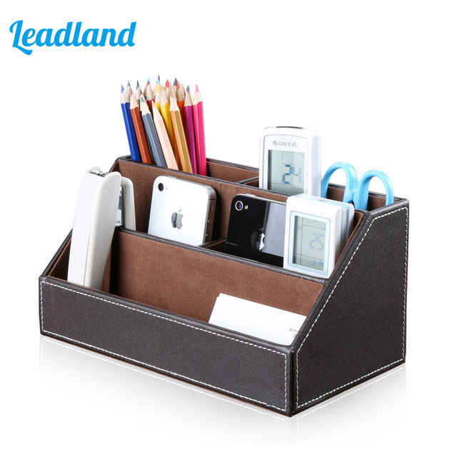Pu Leather Remote Control Organizer Box Desk Stationery Storage Holder Pen Container Office Supplies A026